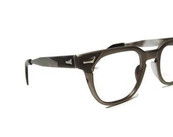 Vintage Silver Horn Rim With Grey Accents Eyeglasses Frame Art Craft