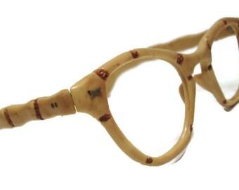 Vintage Bakelite Horn Lens Cateye Eyeglasses Eyewear Frame
