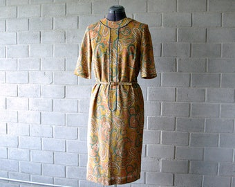 gold paisley 60s lurex dress with belt - 1211410