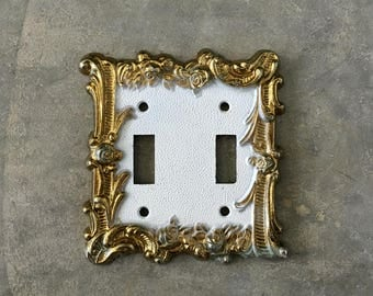 metal double switch plate cover with roses - 1211444