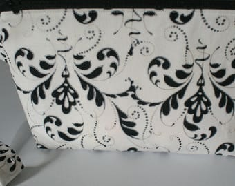 Black White Floral Wristlet Clutch with Zipper Lined Floral Clutch Wedding Clutch Bridal Shower Gift Bridesmaids Gifts Clutches&Evening Bags
