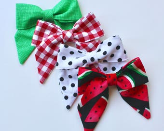 Petite Peanut Bitty Bow Headband - Picnic in the Park- Watermelon Set - Baby Girl Toddler - (Made to Order)- Red Green Black
