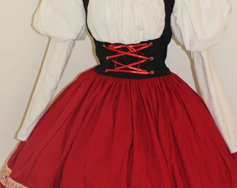 Little Red Riding Hood Dress & Hooded Cape Costume Halloween Cosplay Leg O Mutton Sleeves Custom including Plus Size Red White Black