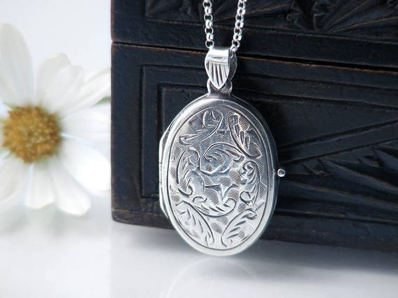 Small Vintage Sterling Silver Locket | Hand Chased .925 Silver Locket | 1970s Small Oval Photo Locket | Love Token - 20 Inch Sterling Chain