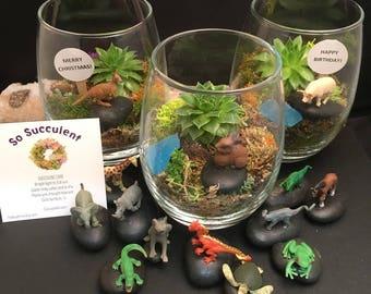 Mini SUCCULENT Terrarium, Choose Your Favorite Creature