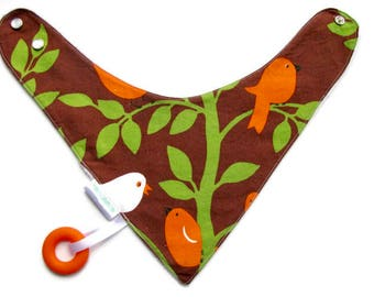 Baby Bandana Bib With Attached Food Safe Silicone Teether, Little Birds, Reversible  Minky Lined