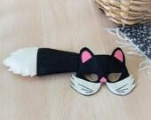 Kids Costume, Black Cat Costume, Black Cat Mask & Tail, Halloween Costume, Carnival Costume, Mardi Gras Costume, Toddler Costume, For Girls