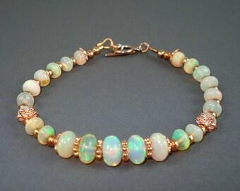 Opal Bracelet, Ethiopian Fire Opals, Rose Gold Beads and Clasp,Extreme Fire Opal Bracelet, Fire Opal Jewelry