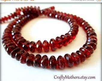 7% off SHOP SALE MOZAMBIQUE Red Garnet Faceted Rondelles, set of 10 beads, Select a Size, crimson, natural gems
