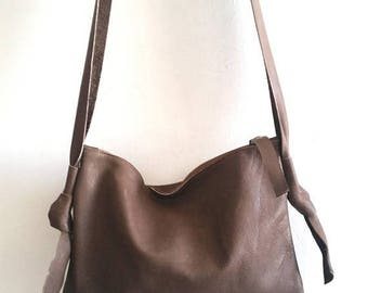 OnSALE Brown leather bag, cross bady bag,
