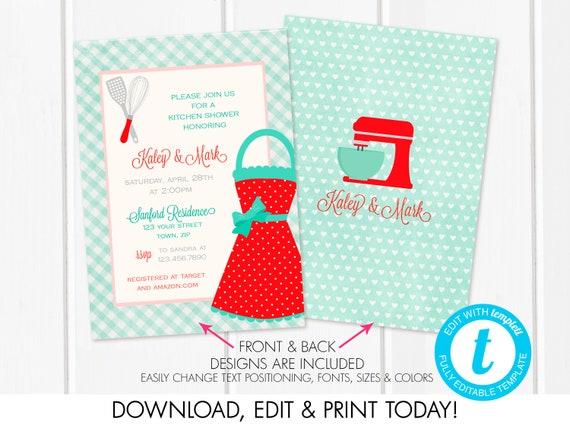 printable kitchen shower invitation recipe card red bridal