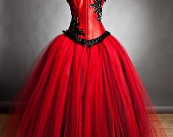 Custom Size red and black burlesque corset Ball gown s-xl