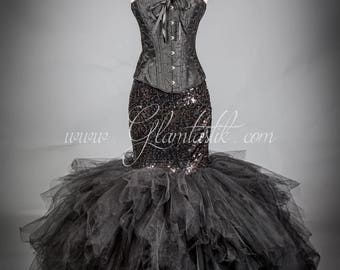 Size Medium Black sequin mermaid style tulle prom dress with choker READY TO SHIP