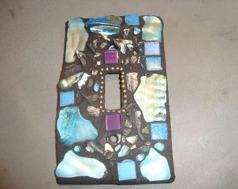 MOSAIC Light Switch Plate -  Single Switch, Blue, Wall Art, Wall Plate, Shells, Mother-of-pearl