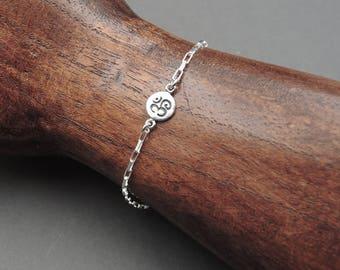 Om Bracelet - 925 Sterling Silver Ohm Bracelet, yoga bracelet, tiny om bracelet, womens bracelets, yoga gift
