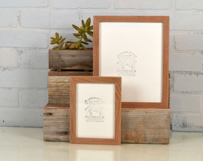 BASIC Picture Frame - Natural CHERRY Solid Hardwood Gallery Wall Frames - Choose medium size 8x8, 7x9, 8x10, 9x9, 8x12, 8.5x11, A4 8.3x11.7""
