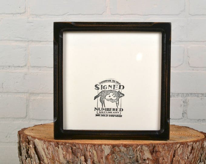 8x8 Square Picture Frame in Deep Bones Style with Vintage Black Finish - IN STOCK Same Day Shipping - 8 x 8 Photo Frame Rustic Black Wood