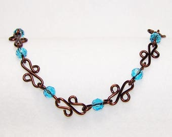 Wire and Crystal Bracelet, Brown and Blue Bracelet