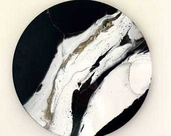 Contemporary abstract painting resin painting resin art fluid art abstract resin painting round painting resin art black and white art