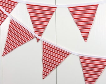 Candy Cane Bunting Flags / Red Striped Bunting Flags / XMas Pennant Flags