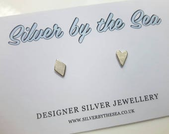 Tiny Heart and Diamond Sterling Silver Earring Studs