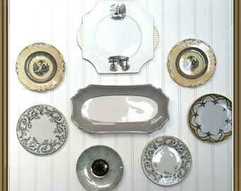 French Inspired Plate Collection for French Farmhouse Kitchen Wall Decor Cottage Chic Black and white Plates