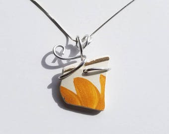 Yellow Flower Sea Pottery Necklace handmade with sterling Chain and silver aluminum bale