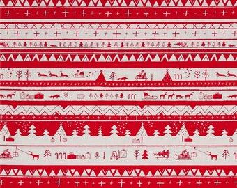 North Pole After Dark Christmas Holiday Fabric Santa Sleigh Reindeer Stripe