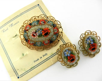 Gorgeous Grand Tour Vintage micro mosaic Millefiori Italian Floral Brooch & Earrings Set  - ITALY and artist's brand - Art.816/4
