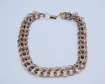 Antique Chain Link Choker Necklace . Unique Links . Brass