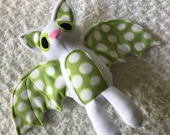Green Spotted Bat Plush, White Bat Toy, Stuffed Bat