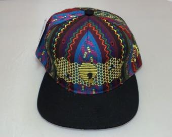 Snapback Flat-Brim Hat - Honeycomb Hideout (One-of-a-kind)