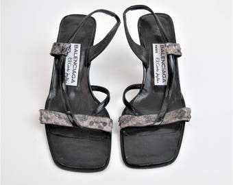 1990s BALENCIAGA Paris Heels Strappy Slingback Heels Black Leather Snake Skin Sandals Open Toe Stilettos Sexy Designer Shoes Size 37 E8011