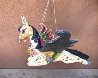 Vintage wood carving flying horse mobile Bali folk art, Indonesian art, horse art, horse decor, guardian folk art sculpture, Bali horse