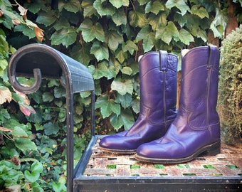 Vintage Women's Size 6 C (fits like 7) purple Justin ropers cowgirl boots