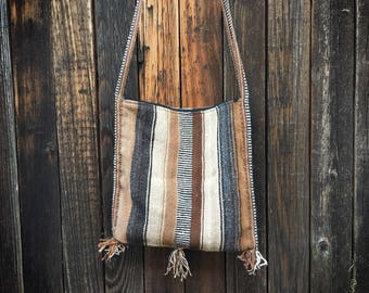 Vintage Mexican blanket purse woven wool hippie sling bag