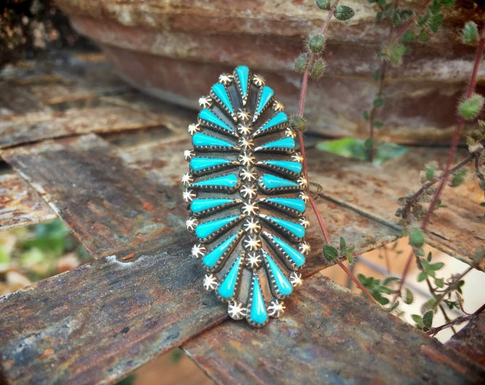 Featured listing image: Turquoise Ring Zuni Petit Point Size 7.5 Native American Indian Turquoise Jewelry