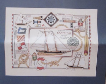 Nautical Sampler Cross Stitch Kit, Linda Gillum for Bucilla, 2002