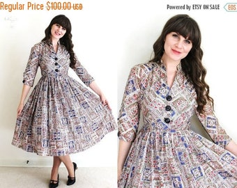 ON SALE 1950s Dress / 50s Dress / 50s Folk Print Full Skirt Dress