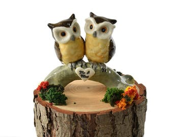Owl cake topper, Owl wedding cake topper by Anita Reay Woodland wedding Australian cake topper owl figurine Mr & Mrs