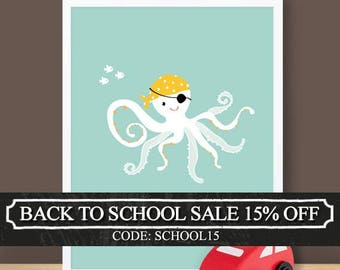 Custom Baby Print - Under The Sea - Octopus - 8.5 x 11 inches