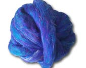 Blue Sari Silk Roving Upcycled Recycled For Spinning Felting Fibre Crafts