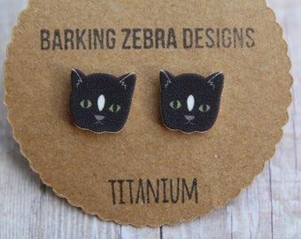 Cat Earrings | Cat Studs | Cat Jewelry | Cat Stud Earrings | Black | Animal Earrings | Titanium Stud Earrings | Hypoallergenic