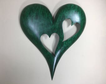 Personalized green 50th wood Wedding Anniversary Gift wood Heart