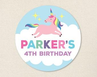 Unicorn Party - Custom Unicorn Stickers - Sheet of 12 or 24