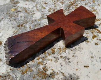 Handmade wood cross magnet made from Texas honey mesquite burl, Christian decor