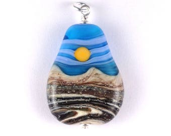 "Pendant ""Periwinkle Skies"" Handmade Lampwork Glass Bead Focal Landscape"