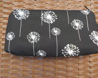 Long Black Wristlet with White Dandelions