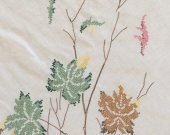 Vintage Fall Embroidered Tablecloth Autumn Handmade