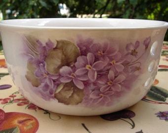Violet Bouquets! Large Ceramic Yarn Bowl / Yarn Holder